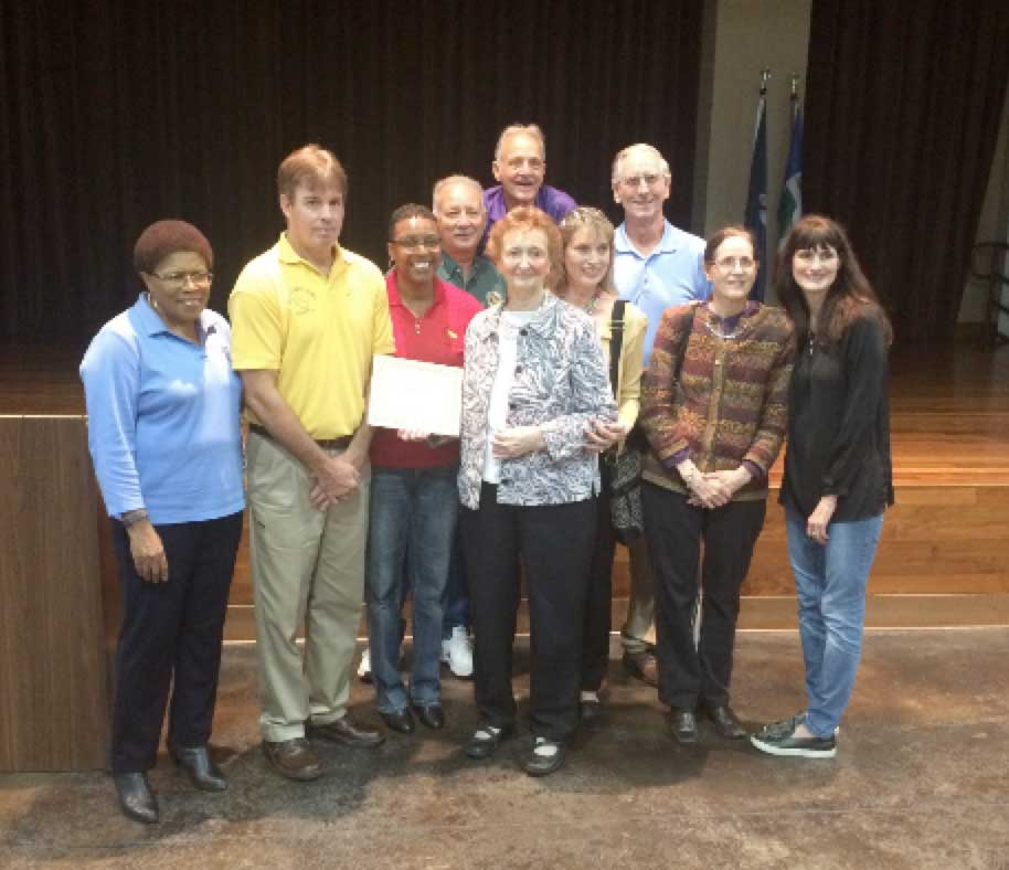 Shirley Merrick, Parish Council Chair Matt Jewell, Charlene Siplin, Parish Councilman Tim Vallet, the oldest senior served by the COA - Mrs. Marie Kocke (93 years young) and her family members who surprised her